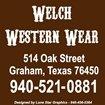 Welch Western Wear flyer