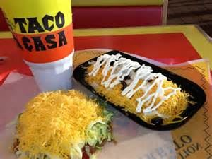 Taco Casa food and soda on table